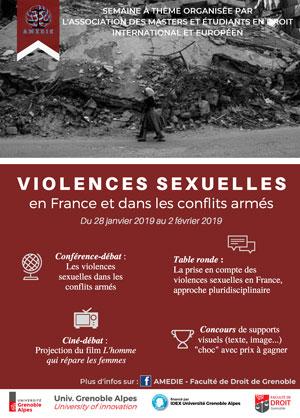 """Affiche semaine à thème """"Violences sexuelles : en France et dans les conflits armés"""""""